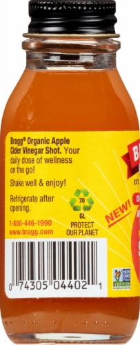 Bragg Organic Carrot Ginger Apple Cider Vinegar Prebiotic Shot Perspective: left