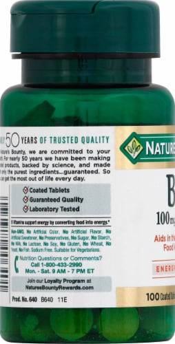Nature's Bounty B2 Tablets 100mg Perspective: left
