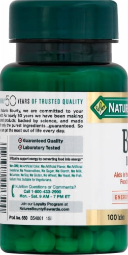 Nature's Bounty B6 Tablets 100mg Perspective: left