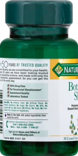 Nature's Bounty Botanical Sleep Tablets Perspective: left