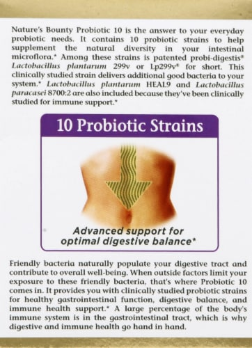 Nature's Bounty Probiotic 10 Capsules Perspective: left