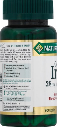 Nature's Bounty Iron Capsules 28mg Perspective: left
