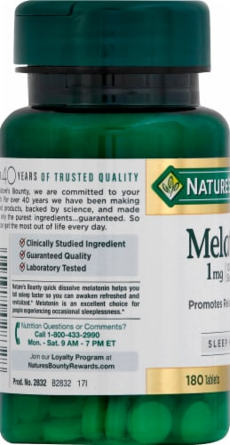 Nature's Bounty Melatonin Tablets 1mg Perspective: left