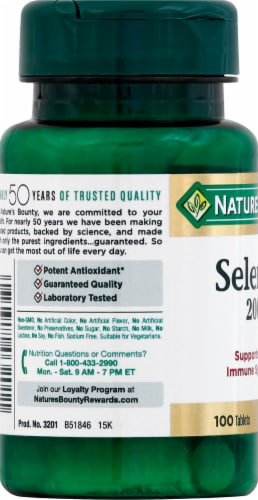 Nature's Bounty Selenium Tablets 200mcg Perspective: left