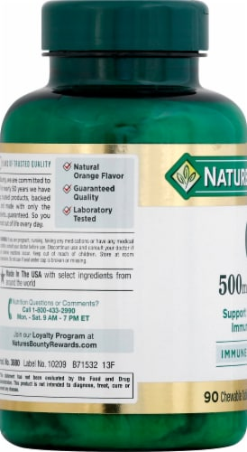 Nature's Bounty Orange Vitamin C Chewable Tablets 500mg Perspective: left