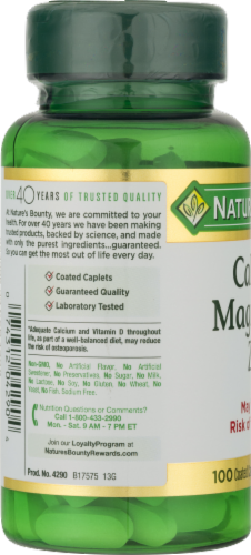 Nature's Bounty Calcium Magnesium Zinc Caplets Perspective: left