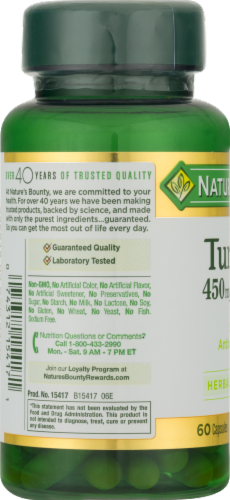 Nature's Bounty Turmeric Capsules 450mg Perspective: left