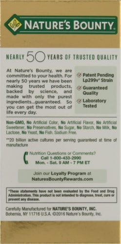 Nature's Bounty Probiotic GX Gas & Bloating Formula Capsules Perspective: left