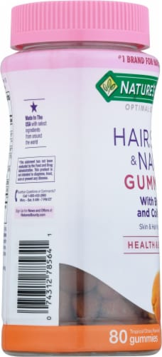 Nature's Bounty Tropical Citrus Hair Skin & Nails Gummies Perspective: left