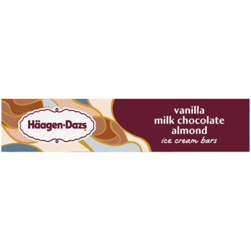 Haagen-Dazs Vanilla Milk Chocolate Almond Ice Cream Bars Perspective: left