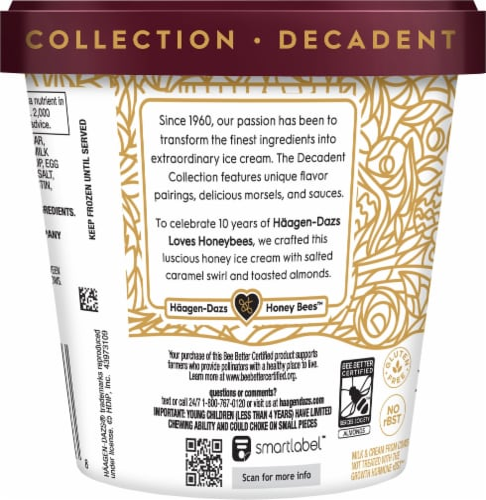 Haagen-Dazs Honey Salted Caramel Almond Ice Cream Perspective: left