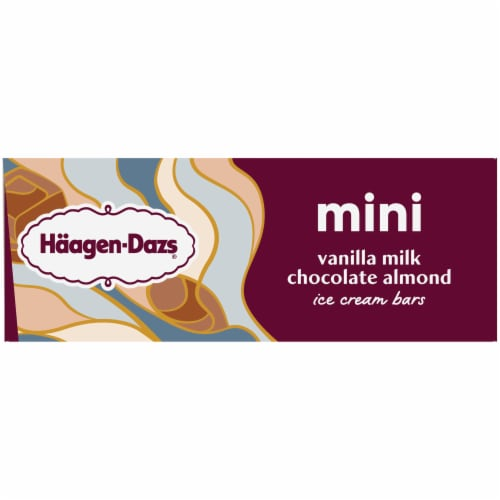 Haagen-Dazs Vanilla Milk Chocolate Almond Snack Size Ice Cream Bars Perspective: left