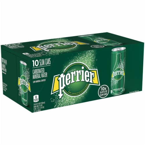 Perrier Carbonated Mineral Water 10 Cans Perspective: left