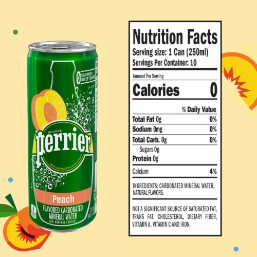 Perrier Peach Flavored Sparkling Mineral Water Perspective: left