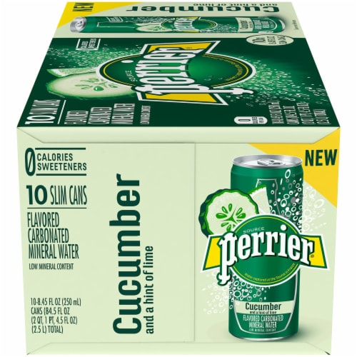 Perrier Cucumber Lime Flavored Carbonated Mineral Water 10 Cans Perspective: left