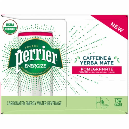 Perrier Energize Caffeine & Yerba Mate Pomegranate Carbonated Beverages Perspective: left
