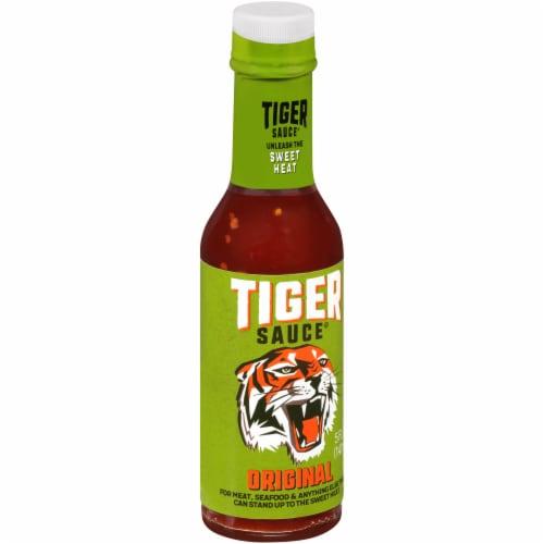 Try Me Tiger Sauce Original Sweet Heat Hot Sauce Perspective: left