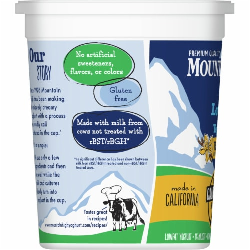 Mountain High Lowfat Vanilla Yoghurt Perspective: left