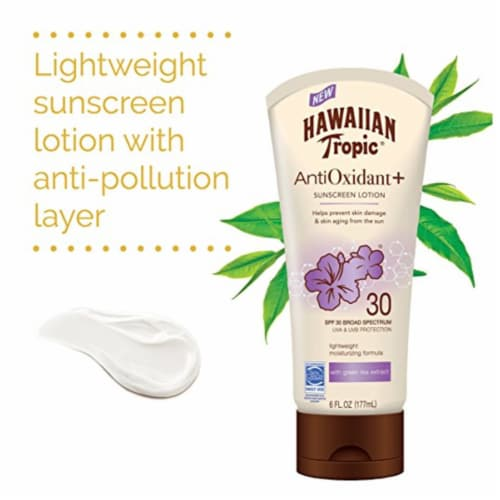 Hawaiian Tropic AntiOxidant+ SPF 30 Sunscreen Lotion Perspective: left