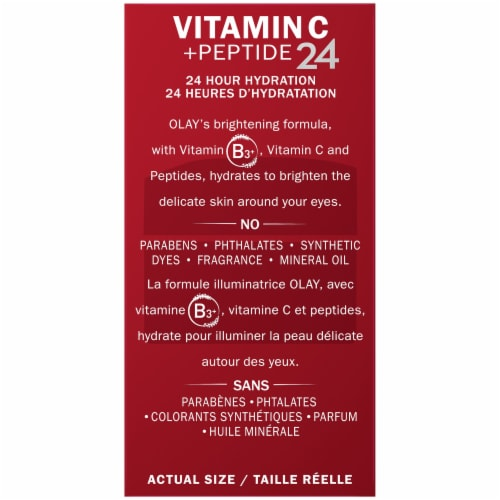 Olay Vitamin C + Peptide 24 Fragrance-Free Brightening Eye Cream Perspective: left