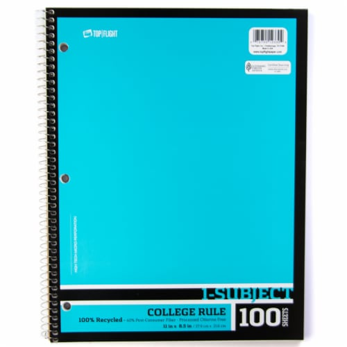 Top Flight Recyled Basics College Rule 1-Subject Notebook - 100 Sheets - Assorted Perspective: left
