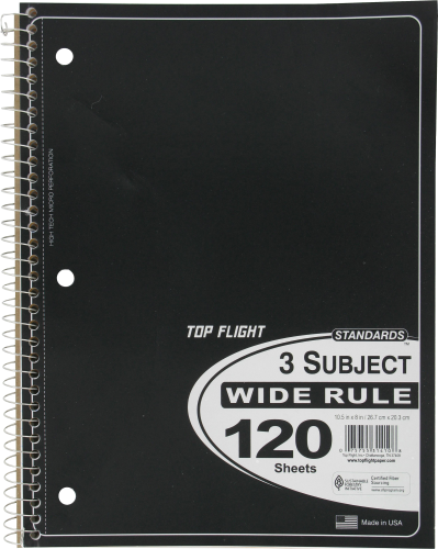 Top Flight Wide-Ruled 3-Subject Notebook - Assorted Perspective: left