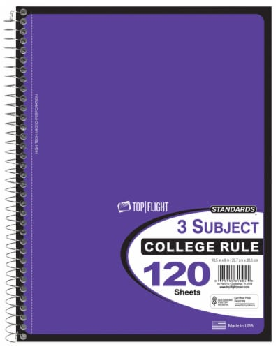 Top Flight College Ruled 3-Subject Notebook - 120 Sheets - Assorted Perspective: left