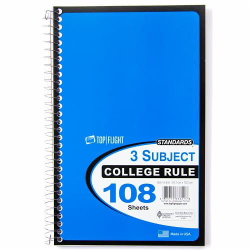 Top Flight College Rule 3-Subject Notebook - 108 Sheets - Assorted Perspective: left