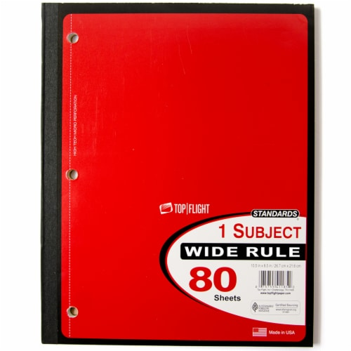 Top Flight Wide Rule 1-Subject Wireless Notebook - 80 Sheets - Assorted Perspective: left