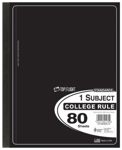 Top Flight College Rule 1-Subject Wireless Notebook - 80 Sheets - Assorted Perspective: left