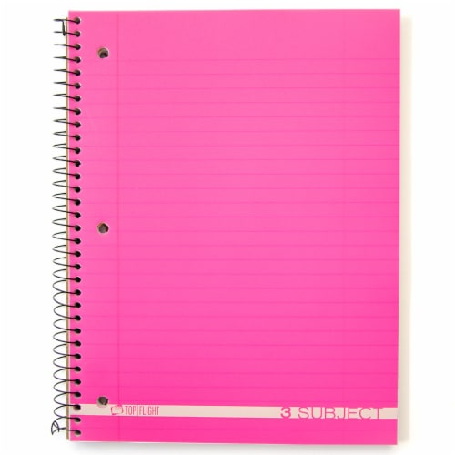 Top Flight Boss Wide Ruled 3-Subject Notebook - 138 Sheets - Assorted Perspective: left