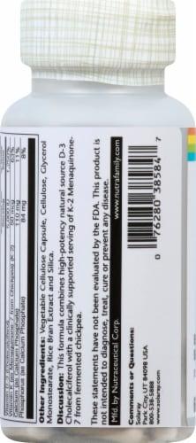 Solaray Vitamin D3+K2 Soy-Free VegCaps 5000 IU Perspective: left