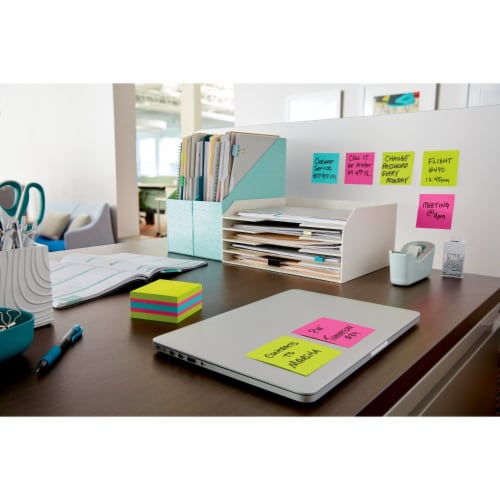 Post-it® Super Sticky Notes Cube - Assorted Perspective: left