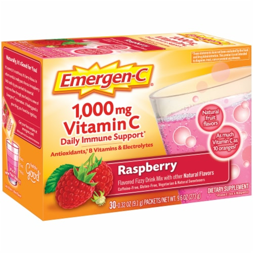 Emergen-C Raspberry Vitamin C Immune Supplement Fizzy Drink Mix Packets 1000mg Perspective: left