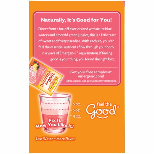 Emergen-C Tropical Dietary Supplement Fizzy Drink Packets Perspective: left