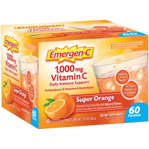 Emergen-C Super Orange Flavored Fizzy Vitamin C Drink Mix Packets 1000 mg Perspective: left