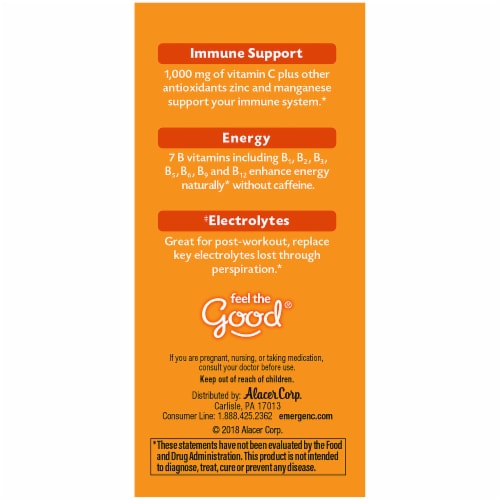 Emergen-C Super Orange Dietary Supplement Fizzy Drink 1000mg Mix Packets Perspective: left