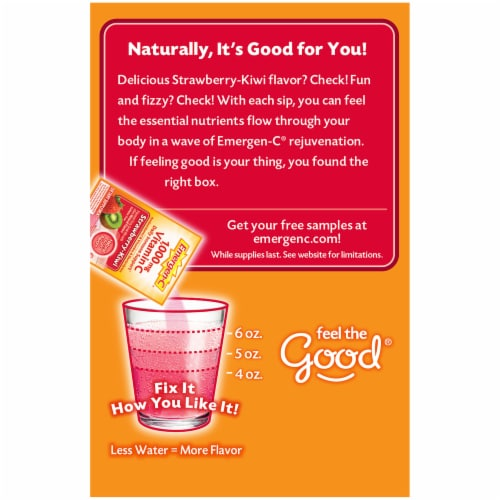Emergen-C Strawberry-Kiwi Dietary Supplement Fizzy Drink Packets Perspective: left