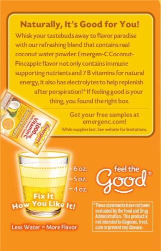 Emergen-C Coconut-Pineapple Dietary Supplement Fizzy Drink Mix Packets Perspective: left