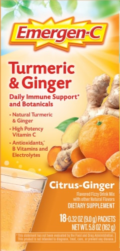 Emergen-C Turmeric & Ginger Citrus-Ginger Dietary Supplement Fizzy Drink Mix Packets 250mg Perspective: left