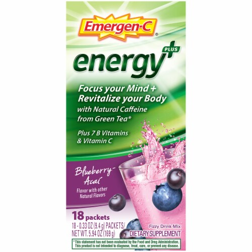 Emergen-C Energy Plus Blueberry-Acai Caffeine Fizzy Drink Mix Packets Perspective: left
