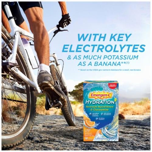 Emergen-C Hydration+ Electrolyte Replenishment Orange Sports Drink Mix Packets Perspective: left