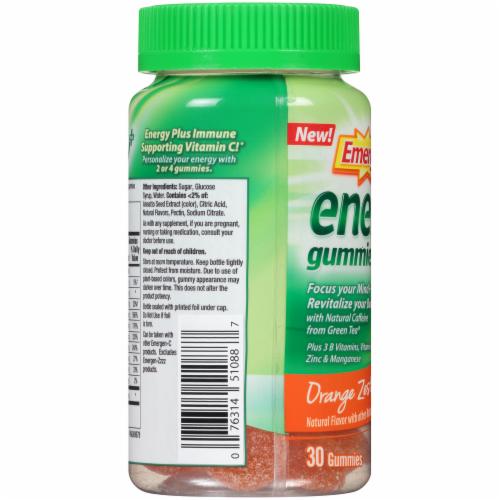 Emergen-C Energy Plus Orange Zest Natural Caffeine Dietary Supplement Gummies Perspective: left