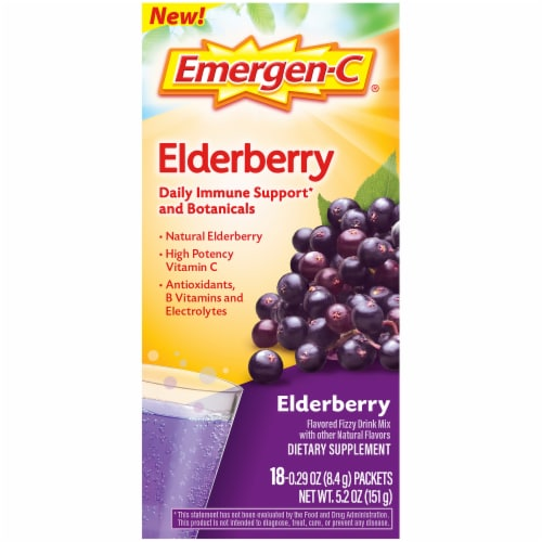 Emergen-C Elderberry Daily Immune Support Dietary Supplement Fizzy Drink Mix Packets 18 Count Perspective: left
