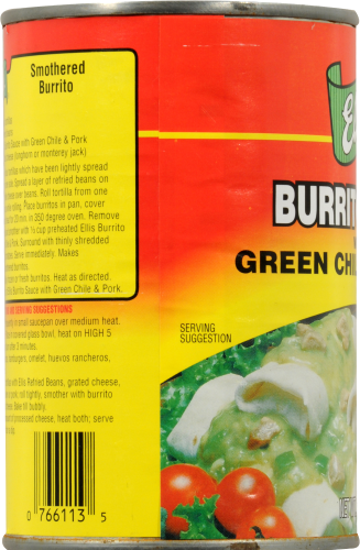 Ellis Burrito Sauce with Green Chile and Pork Perspective: left