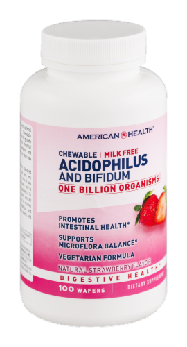 American Health Strawberry Acidophilus and Bifidum Chewables Perspective: left