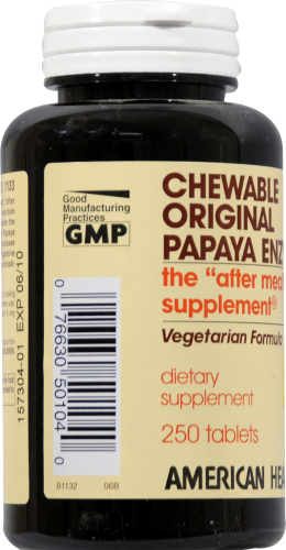 American Health Papaya Enzyme Chewable Tablets Perspective: left