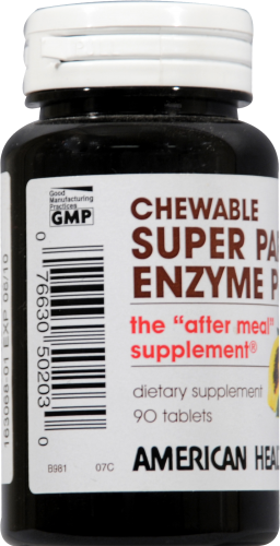 American Health Super Papaya Enzyme Plus Chewable Tablets Perspective: left