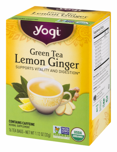 Yogi Lemon Ginger Green Tea Perspective: left