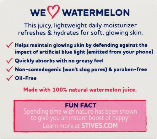 St. Ives Glowing Watermelon Oil-Free Face Moisturizer Perspective: left